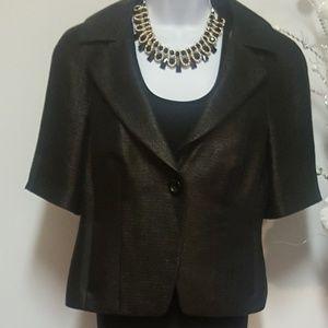 Ann Taylor Black Fine Italian Fabric Blazer Jacket
